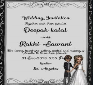 deepak kalal and Rakhi sawant wedding card